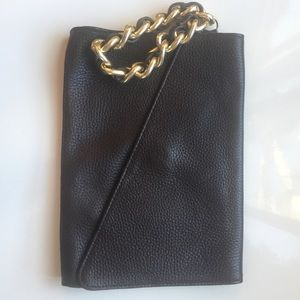 Saks 5th ave brown leather clutch with gold chain